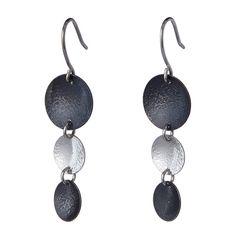Black Rain Earrings handmade in sterling silver by Garden of Silver. www.gardenofsilver.com