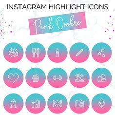 Pink Ombre Instagram Highlight Icons | Blogger Instagram Icons | Pink Instagram Covers | Instagram Highlight Cover Icons | Social Media