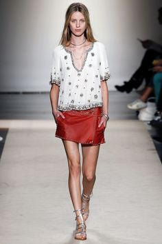 beautifully embroidered loose blouse - tunic neckline but cropped length. - Isabel Marant