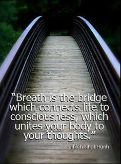 """Breath is the bridge which connects life to consciousness which unites your body to your thoughts"" - Thich Nhat Hanh"