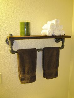 REALLY WANT to make this!! THIS!! Industrial Plumbing Pipe Towel Rack - Walnut Shelf. $119.00, via Etsy.