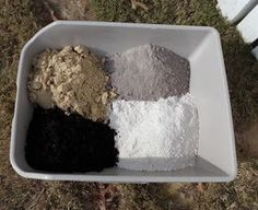 Dust Bath - WHAT TO FILL IT WITH? soil from your garden. sand to make it a bit more dusty. Wood ash is very harmful to parasites.