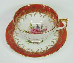 Porcelain Teacup Aynsley Tea Cup Red  2146 31 Bone China England MicheleACaron