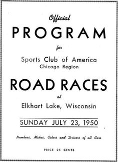 Image result for elkhart lake 1950 scca Elkhart Lake, Car Prices, Sports Clubs, Road Racing, Wisconsin, America, Image, Usa