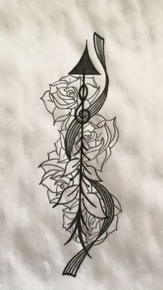 Arrow tattoo design with blank music staff and roses.