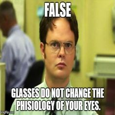 Wearing glasses will not make your vision worse. Job Memes, The Heart Is Deceitful, Funny Memes About Work, Funny Work, Funny P, Funny Stuff, Hilarious Jokes, Funny Things, Humor