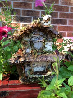 Beautiful two story fairy house with bark moss by ChezDarlington Create Yourself, Finding Yourself, Second Story, Pine Cones, Grapevine Wreath, Sea Glass, Grape Vines, Unique Gifts, Fairy