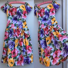 "Vintage Floral Dress Off Shoulder Puffy Skirt With Bow 1980s 28"" Waist  