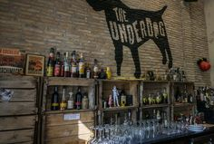 crates - great looking bar in central athens - industrial - Brewing the Barista - A Visit to The Underdog, Athens Interior Design Themes, The Underdogs, Barista, Athens, Wine Rack, Crates, Brewing, Industrial, Home Decor