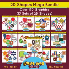 2D Shapes Cliparts MEGA BundleThis MEGA bundle has over 170 graphics and is a must-have resource for creating math materials with real world examples of shapes! Included in this Product: Circle Shapes Digital Cliparts - $4.45 - Cliparts Link 8 Full Colored items 8 Black and white items 16 pieces clip art in total Each clipart saved separately in 10x10 300 dpi PNG files, transparent backgroundDiamond/Rhombus Shapes Digital Cliparts - $3.45 - Cliparts Link 6 Full Colored items 6 Black and…
