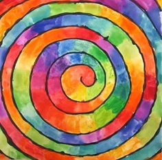 color wheel spiral -- draw spiral with black marker or paint and then fill with rainbow chunks of color