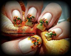 Fall Flowers   23 Snazzy Nail Ideas For Thanksgiving