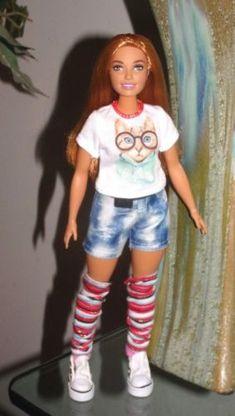 FUN-Curvy-Barbie-Doll-Clothes-Cali-Cat-Top-Jean-Shorts-Leg-Warmers-Belt-amp-Shoes