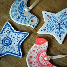 Handmade clay Christmas decorations -Idea -  Each decoration is individually cut from hand, air dried and hand painted on each side with intricate decorative detail.