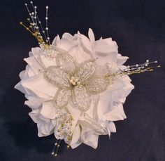 Wedding Bouquet French Beaded Flower White Roses Beads