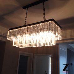 $ 649.99 U.S>  125 cm  Replica item industrial length 125cm 1920S ODEON CLEAR GLASS FRINGE RECTANGULAR CHANDELIER  vintage k9 lustre crystal