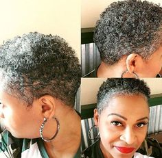 My first real patch of white! Short Natural Styles, Natural Hair Short Cuts, Short Natural Haircuts, Tapered Natural Hair, Short Grey Hair, Short Hair Cuts, Gray Hair, Twa Hairstyles, Sassy Hair