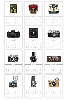 Fantastic vintage camera printable 2015 calendar