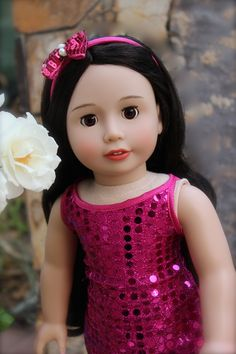 Harmony Club Dolls 18 Inch Doll, Melody Rose with very dark brown long hair and brown eyes. Visit Our Doll Shopping Website at http://www.harmonyclubdolls.com
