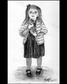 This portrait study is based on a pre digital photo of my daughter when she was little at about 4 years of age. I drew it in September 2015. Here she is with one of our #guineapigs. We successfully bred them in captivity however it was very sad when the new baby guinea pig was killed by the father. We came out one morning excited to see how the little baby guinea pig was progressing only to find it had been flattened and had died under the weight of the father guinea pig. To make the story…