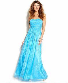 Hailey Logan Juniors' Strapless Glittered Gown - Juniors Prom Dresses - Macy's