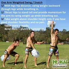 One Arm Weighted Swing / Snatch (use a Kettlebell of other weight)  i did 10 each arm. not much... but i still feel it!