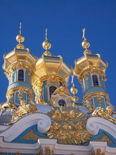 Cupolas of the Catherine Palace church. St.-Petersburg