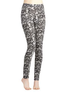 Lace Get Together Leggings. You and your girls have just as much fun staying in to watch movies as you do hitting the town, and these lace-printed leggings are perfect for both occasions!  #modcloth