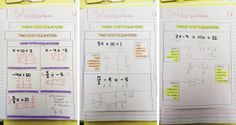 """Everybody is a Genius: Solving Equations Odds & Ends - """"anchor charts"""" for students to fill out Algebra Equations, Solving Equations, Maths Algebra, Math Multiplication, Math Math, Interactive Student Notebooks, Math Notebooks, Teacher Blogs, Math Teacher"""