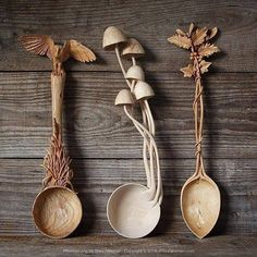 Beautiful handmade wooden spoons which one is your favorite? Wooden Spoon Carving, Carved Spoons, Ceramic Spoons, Wood Spoon, Wood Carving, Love Spoons, Whittling, Handmade Wooden, Wood Art