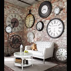 Industrial Chic - wall full of clock, I love the wall and the clocks.  Love!!