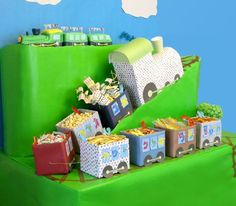 {A Train Party - launa Trains Birthday Party, Train Party, 2nd Birthday Parties, Boy Birthday, Birthday Ideas, Pirate Party, Thomas Birthday, Toy Story Birthday, Toy Story Party