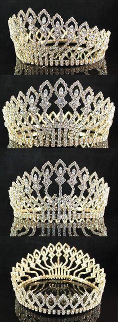 Hair and Head Jewelry 110620: Wedding Full Crown Clear Austrian Rhinestone Crystal Tiara Pageant 01406-Gold BUY IT NOW ONLY: $42.99