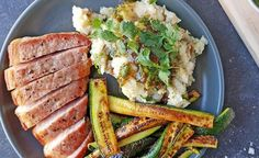 Recipe for tasty Kassler Chops served with chutney mashed potatoes and charred courgette fingers. Potato Mashers, Baby Potatoes, Fresh Coriander, Chops Recipe, Recipe Of The Day, Pork Chops, Chutney, Tasty, Stuffed Peppers