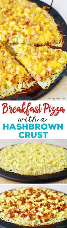 This delicious recipe for breakfast pizza with a hash brown crust can be made for breakfast or as an easy dinner. It is topped with bacon, ham and cheese.
