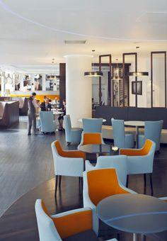 Novotel bar design with fabric sofa