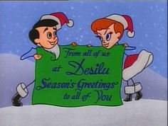 "Desilu Christmas Card using the caricatures of Desi Arnaz and Lucille Ball as seen in the original animated opening credits of ""I Love Lucy. Vintage Christmas Cards, Retro Christmas, Vintage Holiday, Vintage Cards, Christmas Time Is Here, Christmas Past, Christmas Images, Christmas Greetings, Christmas Crafts"