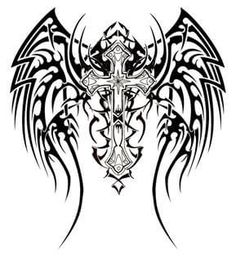 Are you assuming about getting tribal wings tattoos inked on your skin? Read on to get ideas about the best kind of tribal wings tattoo designs. We are seeing that tribal wing tattoo has become quite popular amongst people who love tribal tattoo art. Tribal Cross Tattoos, Tribal Wings, Celtic Cross Tattoos, Tribal Tattoos For Men, Tattoos For Guys, Celtic Crosses, Men Henna Tattoo, Tattoo Son, Back Tattoo