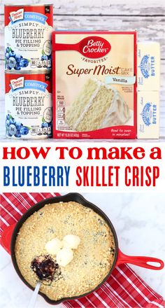 How to Make a Skillet Dessert!  Sweet and tangy flavors are bursting from this delicious blueberry skillet dessert.  Plus, it only takes a few basic ingredients! 5 Ingredient Desserts, Easy Recipes, Easy Meals, Blueberry Crisp, Spring Desserts, Crisp Recipe, 4 Ingredients, Skillet, Cravings