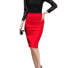 Elegant High Waist Work Slim Pencil Skirt
