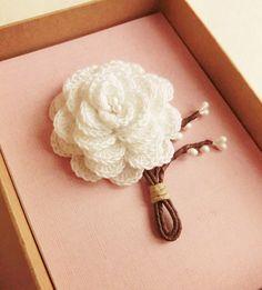Crochet Boutonniere, Single white rose.