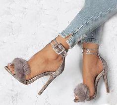 1d37771a3b2e Women Fur Sandals High Heels Ankle Strap Gladiator Sexy Stiletto Snake Skin  New
