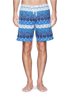 DANWARD gives nautical stripes a contemporary update with these optical print swim shorts. Featuring back-to-back pound-cut diamond graphics, this multi-shade pair can be worn with a white tee for bold contrast. Mens Swim Shorts, Nautical Stripes, Mens Boardshorts, Short Shirts, White Tees, Indigo, Branding Design, Contrast, Graphics