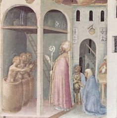 Gentile da Fabriano. St. Nicholas Saves Three Youths from the Brine, 1425, part of the Predella from the Quaratesi Polyptych. Pinacoteca Vaticana, Rome. 2,024×2,051 pixels