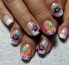 Nail idea for Aria Gorgeous Nails, Love Nails, Pretty Nails, Cat Nail Art, Cat Nails, Ruby Nails, Nail Art Printer, Cruise Nails, French Tip Nails