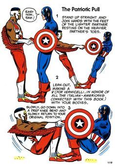 """""""The Patriotic Pull"""" from The Mighty Marvel Comics Strength and Fitness Book"""