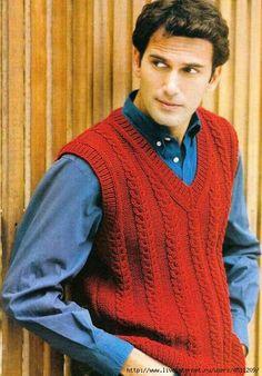 ●●Fяее Pаттеяи●● Knitting Designs, Knitting Patterns, Knit Vest Pattern, Stylish Men, Baby Knitting, Knitwear, Knit Crochet, Men Sweater, Pullover