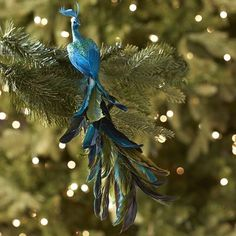 Green & Turquoise Peacock Ornament Clip