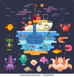 Ocean underwater life, sea animals. Fishing boat. Fish, octopus, shrimp, squid, cancer, mussels, crab, anchor, seaweed, ship, barge, fisherman. Vector flat illustration