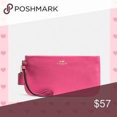 "Just In Coach Large Wristlet Leather Pink NWT Large Coach Wristlet in Pink across Grain Leather,  inside Pocket.  Fabric Lining.  Zip Top Closure.  Four Credit Card Slots.  9""L X 4.75"" H Coach Bags Clutches & Wristlets"